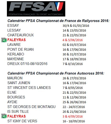 calendrier ffsa 2016 championnats de france rallycross et autocross circuit de faleyras. Black Bedroom Furniture Sets. Home Design Ideas